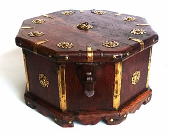 Tea Caddy, Antique wooden box, octagon shaped casket with brass ornaments, four compartments separated by a divider. #5E8G9C4K50