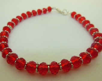Deep RED, with silver spacers