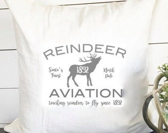 Reindeer Christmas Pillow 18x18, Christmas Pillow Cover, Christmas Gift, Gift, Home Decor, Christmas Decor, Reindeer decor, Reindeer Pillow