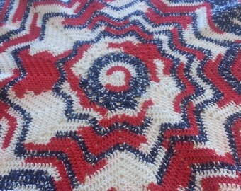 Crocheted afghan patriotic red white blue Etsy