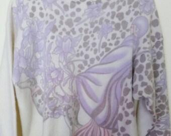 Vintage Angora Wool Sweater Art Deco Lady