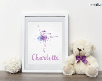 BALLERINA Wall Art Decor 8x10 PDF - Digital Print, Personalised with your little girls name! Nursery Girls Bedroom Wall Art Print