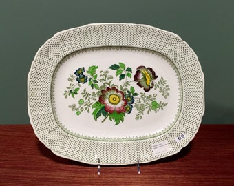 """REDUCED 17"""" Oval Serving Platter in Paynsley Green Multicolor by Mason's Ironstone [603.A]"""