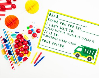 Trash Truck Birthday Party Fill in the Blank Thank You Cards {instant download}
