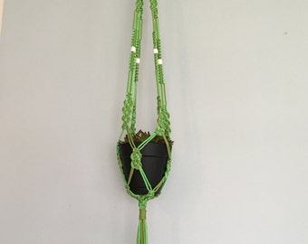 4 strand Macrame Plant Hanger green with beads