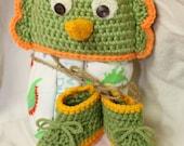 Crochet Dinosaur Hat, Baby Gift Set, Crochet Booties, Flannel Receiving Blankets, Baby Shower Gift, Baby Blanket