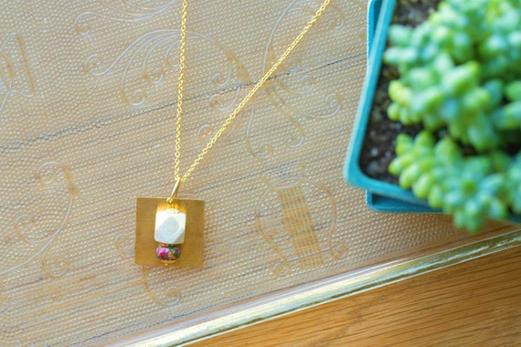 Essential Oil Diffuser Necklace // Wood & Mixed Jasper Bead with Brass Pendant