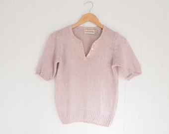 1980s silk bubble sleeve light purple / mauve knit short sleeve blouse
