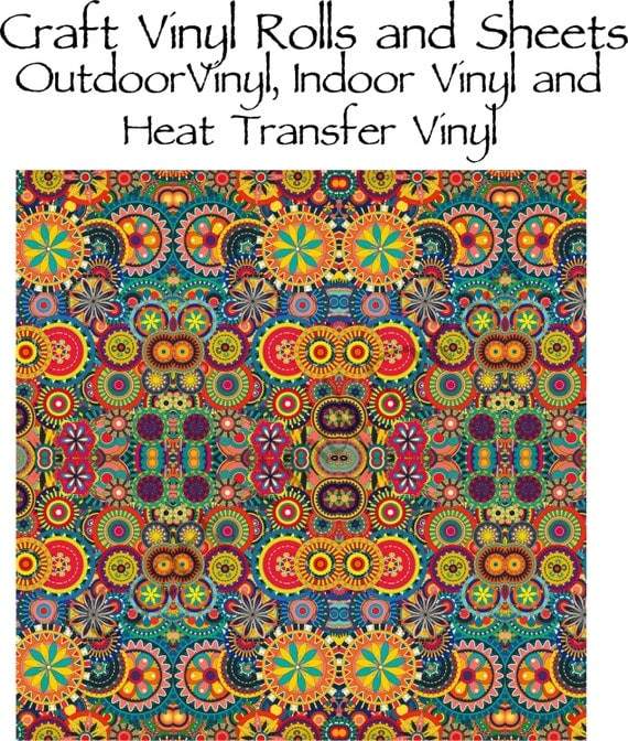 Beautiful, Vibrant Craft Vinyl and Heat Transfer Vinyl in Multi Color Patterned Circle Pattern 211