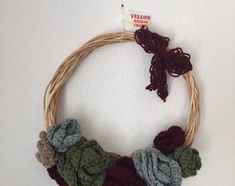 Fall Crochet Flower Wreath