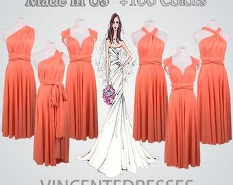 Prom Dress,Coral Dress, Short Prom Dress,Infinity Dress Short,Knee-length Prom Dress,Maxi Prom Gown,Coral Prom Dress