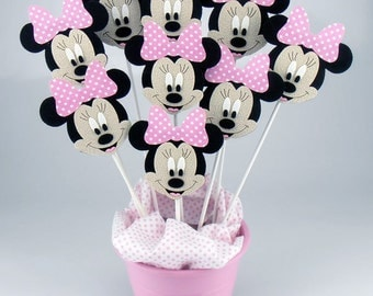 Felt Minnie Mouse Centerpieces On a Stick (6pcs)