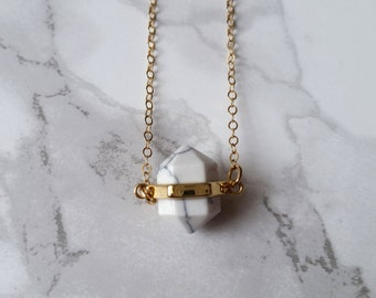 White Howlite Gemstone Necklace / White Marble Necklace / Dainty Layered 14K Gold filled Necklace