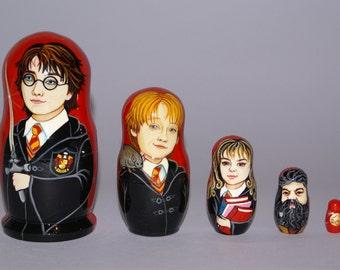 Harry Potter Nesting Doll. J.K.Rowling Nesting Doll. Harry Potter, Ron Weasley, Hermione Granger, Rubeus Hagrid