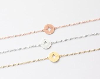 Rose Gold Compass Bracelet, Simple Chain Bracelet, Single Charm Bracelet, Dainty Bracelet, Bracelet for women, Adjustable Bracelet
