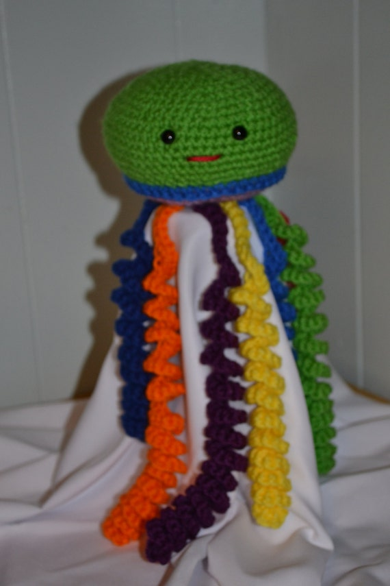 Items similar to Green Rainbow Amigurumi Jellyfish ...