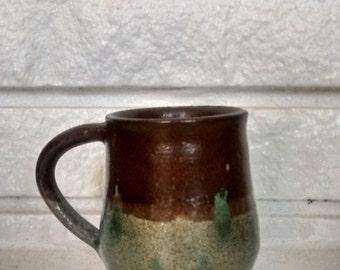 Unique Brown and Green Mug, Handmade Ceramic, One of a Kind