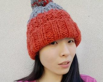 Colour Block Chunky Pom Pom Beanie - Chunky Hat - Winter beanie - Orange & Gray