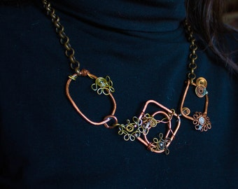 Decolletè Necklace, Copper and Brass Wire