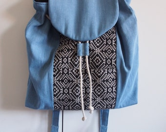 Aztec + Denim Backpack