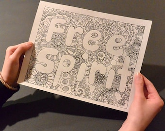FREE SPIRIT Coloring Page Book Pages Printable Adult Hand Drawn Detailed