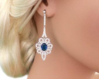 Bridal earrings, Sapphire blue, Wedding jewelry, Something Blue, Long wedding earrings, Sapphire blue earrings, Long crystal earrings 11406