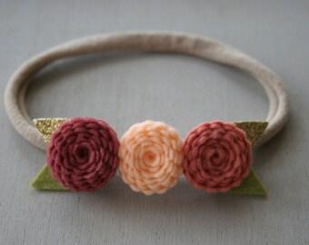 Felt Flower Crown, Baby/Toddler Headband, Soft Nylon Headband, Pink, Blush, Grapefruit