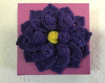 Lilac crochet flower, flower on canvas, wall hanging, kids room