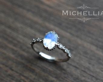 white gold moonstone engagement ring with diamond 14k 18k gold rainbow moonstone crown promise ring blue moonstone vintage moonstone ring - Moonstone Wedding Rings