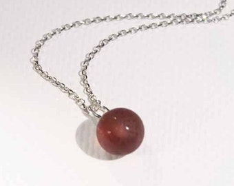 Deep Plum Bauble glass pendant and chain