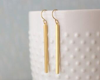 JANE - Skinny Matte Gold Bar, Gold Filled Earwire, Dangle Earrings