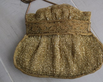 Delill Gold Beaded Evening Bag / Delill / Vintage Evening Bag / Vintage Purses /