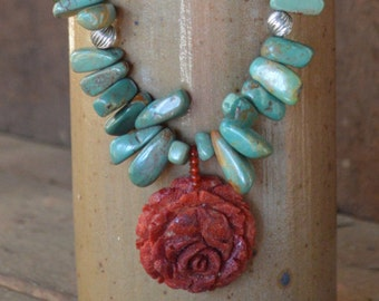 Turqouise and Red Rose Coral Necklace