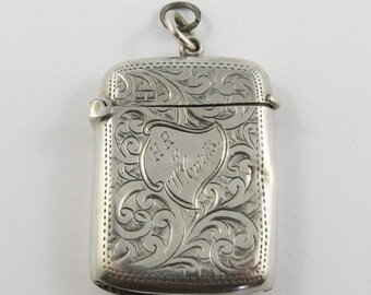 Sterling Silver English Vesta Match Safe with a Feathered Pattern.