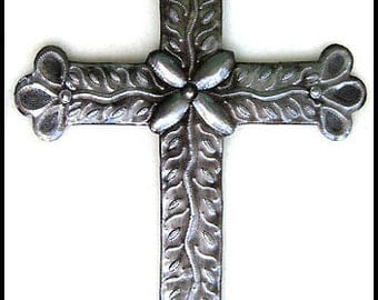 Metal Cross Wall Hanging - Christian Wall Art - Haitian Metal Art, Cross Metal Wall Art - Christian Cross Wall Decor - CS-100-18
