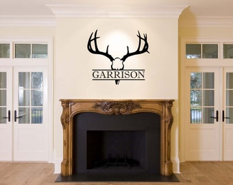 Deer Head Wall Decal Etsy - Custom vinyl wall decals deer