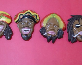 Set of 4 Rasta Fridge Magnets
