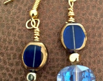 Blue crystal vintage style earrings
