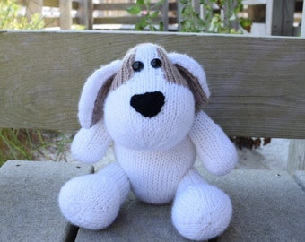 Stuffed Puppy Dog, Handmade Toy, Knit Stuffed Animal, Puppy Plush Doll, Brown White Puppy, Gift For Baby, Kid Toy, Cute Toy, Knit Soft Toy