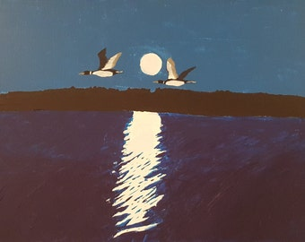 Loons  by the Moon