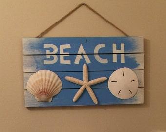 Beach Sign, Bathroom Decor, Nautical Decor, Coastal Decor, Seashell Decor