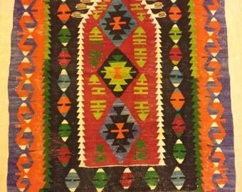 Vintage handmade wool Turkish kilim, 2x3 ft