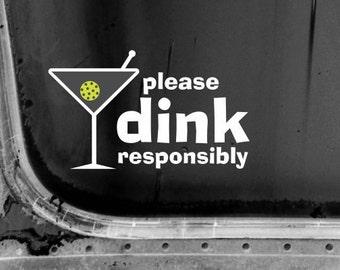 Martini Glass Pickleball Window Decal/Water Bottle/Car/Decal/Computer Decal/Bumper Sticker