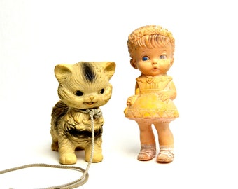 vintage rubber squeaky toy cat and girl, collectible toys, rubber toys