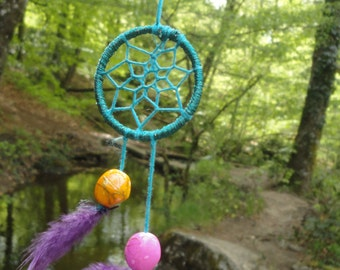 Dream catcher Necklace blue feathers and beads