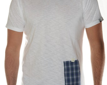 White t-shirt with Pocket in madras design