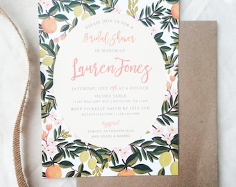 Rustic, Greenery, Floral, Souther Charm Bridal Shower Luncheon Invitation, Printable