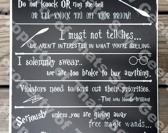 """Harry Potter No Soliciting Sign - 14"""" x 11"""""""