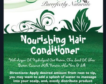 Natural Hair Conditioner for all hair types, NEW & IMPROVED FORMULA!! 4 or 8fl oz with Argan Oil, Keratin, Silk Protien and Camellia Oil