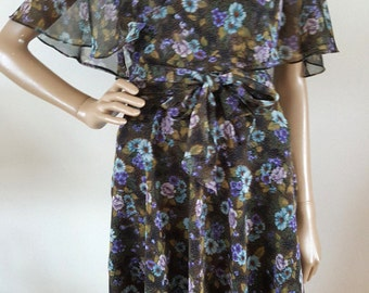 80's Vintage Samuel Blue Hippie Boho Gypsy Rose Flowy Floral Chiffon Dress Sz 10